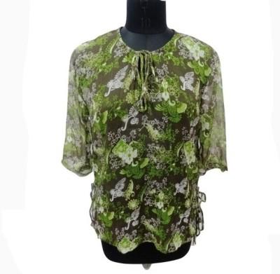 Eleganceranuka Casual 3/4 Sleeve Printed Girl's Dark Green Top