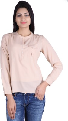 Tinge of Colors Casual, Formal Full Sleeve Solid Women's Beige Top