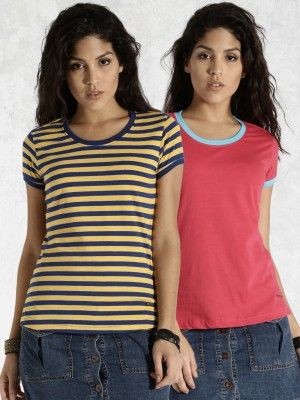 Roadster Casual Short Sleeve Striped Women's Yellow Top