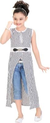 Kittybitty Party Sleeveless Self Design Girl's White Top