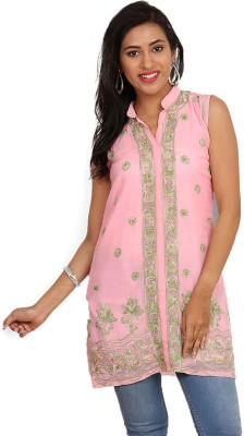 Kasturi-B Swadeshi Karigari Casual Sleeveless Embroidered Women's Pink Top
