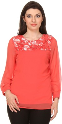 Oyshi Party Full Sleeve Embellished Women's Orange Top