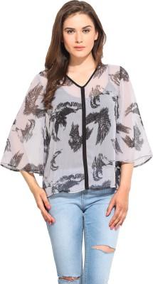 Instacrush Casual 3/4 Sleeve Printed Women,s Grey Top