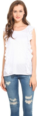 Albely Casual Sleeveless Solid Women's White Top