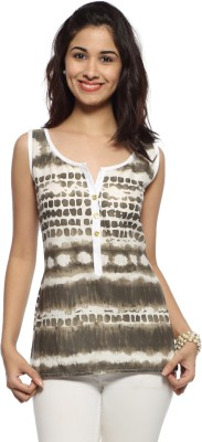 Francisca & Dominique Beach Wear, Casual Sleeveless Printed Women's White Top