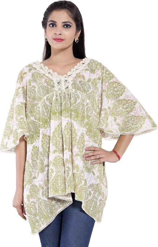 Goodwill Impex Casual Kimono Sleeve Printed Women's Green Top