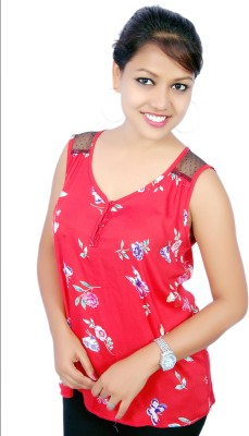 Aussehen Casual Sleeveless Printed Women's Maroon Top