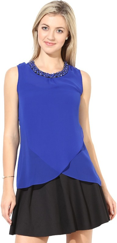 Martini Party Sleeveless Solid Women's Dark Blue Top