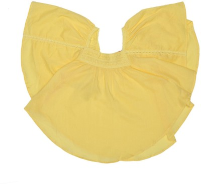 Elle Casual Cape Sleeve Solid Girl's Yellow Top