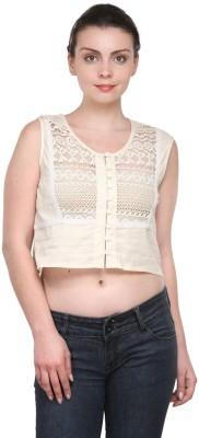 Purplicious Casual, Party Sleeveless Woven Women's White Top