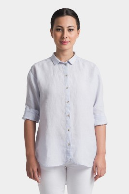 Bhane Casual Short Sleeve Solid Women's Light Blue Top