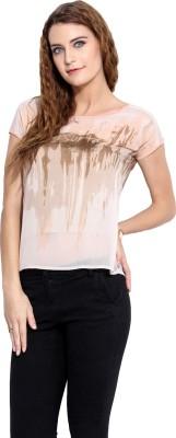 Porsorte Casual Short Sleeve Printed Women's Multicolor Top