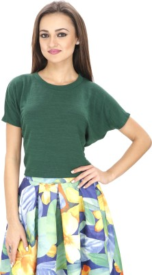 Svt Ada Collections Casual Short Sleeve Solid Women's Green Top