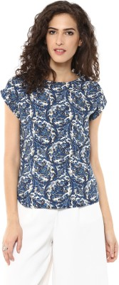color cocktail Casual Cap sleeve Printed Women's Blue Top
