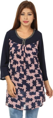 Passion Casual Full Sleeve Printed Women's Pink, Blue Top