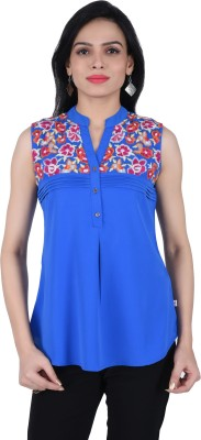 JUNIPER Casual Sleeveless Embroidered Women's Blue Top