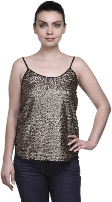 Kami Party Sleeveless Embroidered Women,s Gold Top