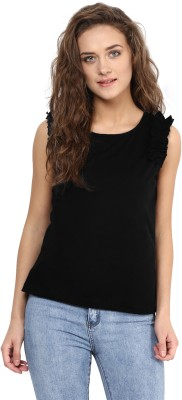 Miss Chase Party Sleeveless Solid Women's Black Top at flipkart