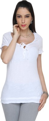 Bedazzle Solid Women's Round Neck T-Shirt