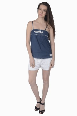 Miway Casual Sleeveless Embroidered Women's Blue, White Top