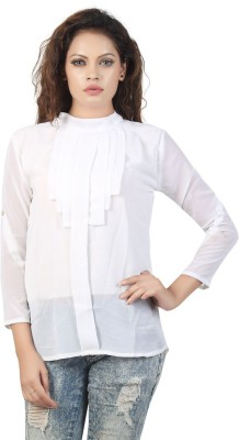 Famglam Casual 3/4 Sleeve Printed Women's White Top