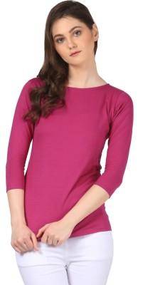 FashionExpo Casual 3/4 Sleeve Solid Women's Purple Top