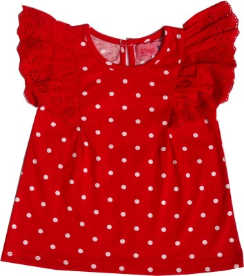 Always Kids Casual, Festive, Party Butterfly Sleeve Polka Print Girl's Red Top
