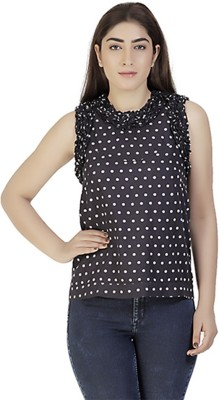 Gudi Party Sleeveless Polka Print Women's Blue Top