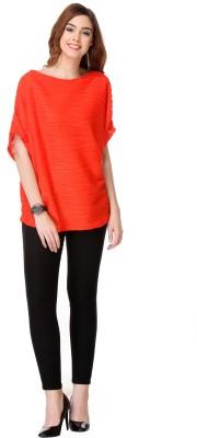 Varanga Party Kimono Sleeve Solid Women's Red Top