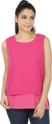 Elmo Casual Sleeveless Self Design Women's Pink Top