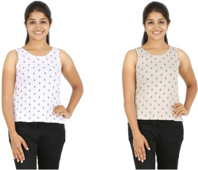 HALF INCH Casual Sleeveless Printed Women's White, Brown Top