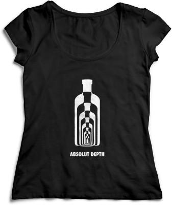 Teeforme Casual, Party Short Sleeve Printed Women,s Black Top