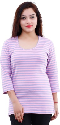 The Clove Casual 3/4 Sleeve Striped Women's Pink, Purple Top