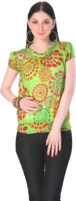 Rediscover Fashion Casual Short Sleeve Polka Print Women's Green Top
