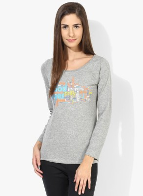 T-shirt Company Casual Full Sleeve Graphic Print Women's Grey Top