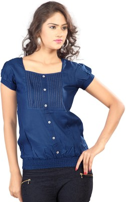 SFDS Festive, Formal, Party Short Sleeve Solid Women's Blue Top