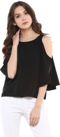 Harpa Casual 3/4th Sleeve Solid Women's Multicolor Top