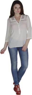 Divas Casual 3/4 Sleeve Self Design Women's Beige Top