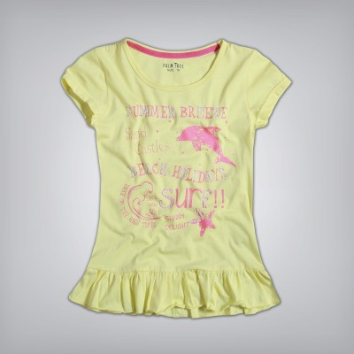 Palm Tree Casual Cape Sleeve Printed Girl's Yellow Top