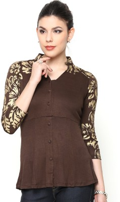 Paschime Casual 3/4 Sleeve Printed Women's Brown Top