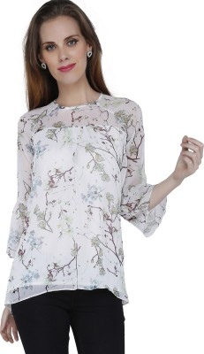 Mineral Casual 3/4 Sleeve Printed Women's White Top