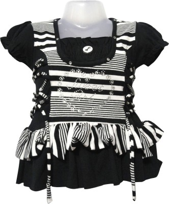 Threads Casual Short Sleeve Striped Girl's Black Top