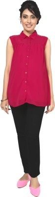Nine Maternity Wear Party Sleeveless Solid Women's Pink Top