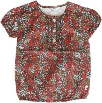 Milou Casual Short Sleeve Self Design Baby Girl's Brown Top