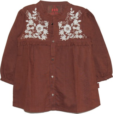 My Little Lambs Casual 3/4 Sleeve Solid Girl's Brown Top