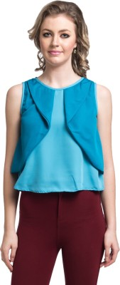 Uptownie Lite Party Sleeveless Solid Women's Blue Top