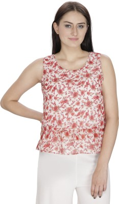 Ihastrenz Casual Sleeveless Floral Print Women's Multicolor Top