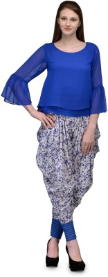 Natty India Casual 3/4 Sleeve Solid Women's Blue Top