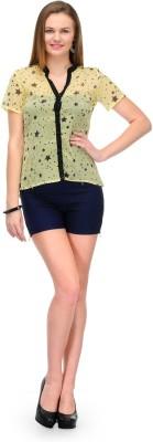 1OAK Casual Short Sleeve Printed Women's Yellow Top