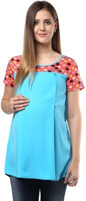 Mine4Nine Casual Cap sleeve Polka Print Women's Light Blue Top